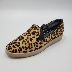 Andrew Stevens Fur Leopard Print Slip On Shoe Left